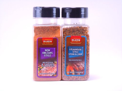 Blazin Blends Variety 2 Pack Seasonings And Rubs - New Orleans Style 7Oz -Steakhouse Style Steak & Chop 7Oz
