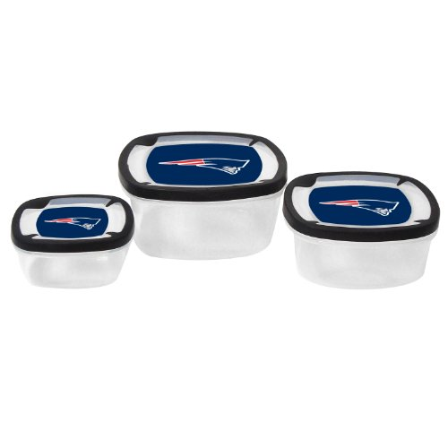 Nfl New England Patriots Nesting Square Containers, 7.2-Cup; 3.5-Cup; 2.1-Cup, Clear, Piece Of 3