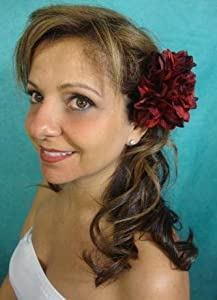 NEW Burgundy Red Dahlia Flower Hair Clip and Pin Back Brooch, Limited.