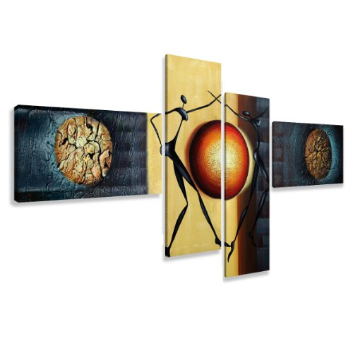 """Picture - art on canvas abstract length 77"""" height 31"""", four-part parts model no. XXL 6807 Pictures completely framed on large frame. Art print Images realised as wall picture on real wooden framework. A canvas picture is much less expensive than an oil p"""