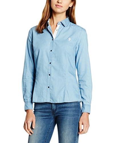 U.S.POLO ASSN. Bluse klassisch himmelblau