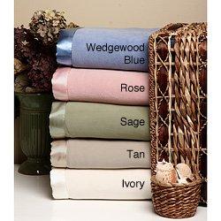 Everything Fleece Micro Fleece Blanket with Satin Binding Twin Sage Green