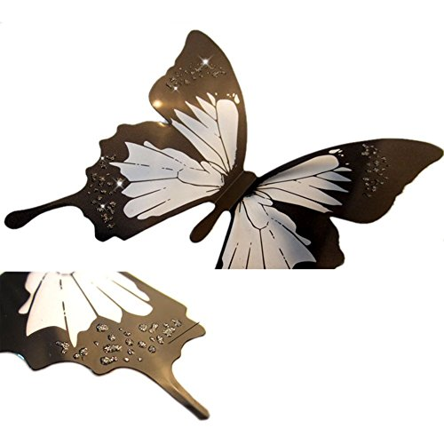 Elecmotive 36 Pcs 3d Color Crystal Butterfly Wall Stickers
