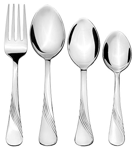 Solimo 24 Piece Stainless Steel Cutlery Set, Waves (Contains: 6 Table Spoons, 6 Tea Spoons, 6 Forks, 6 Dessert Spoons)