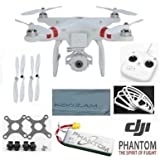 DJI Phantom FC40 Quadcopter with FPV Camera and Transmitter (Can Also mount GoPro Camera Hero 1 2 3 Hero3+ Silver Black) + DJI Extra Prop Guards + DJI Extra Self Tightening Set Propellers 4 Pack + Extra DJI High Power LiPo Battery 2200 mAH + Carbon Fiber Anti Vibration Anti-Jello Mount + Koozam Cleaning Cloth Extra Value Ultimate Bundle