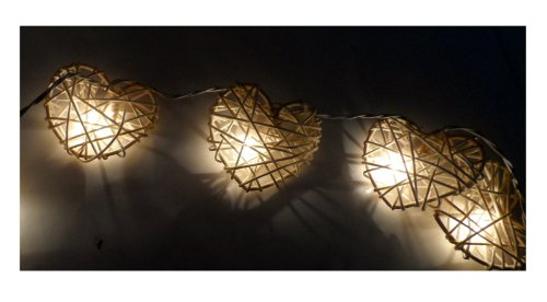 Thai Led Fairy String Light Rattan White Heart Color 20 Balls For Party, Wedding, Christmas Tree And New Year Day 2 Set