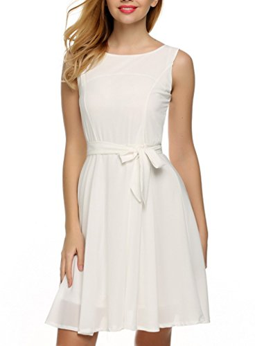 OURS Women's Summer Sleeveless Chiffon Pleated Cocktail Party Dress With Belt (M, White)