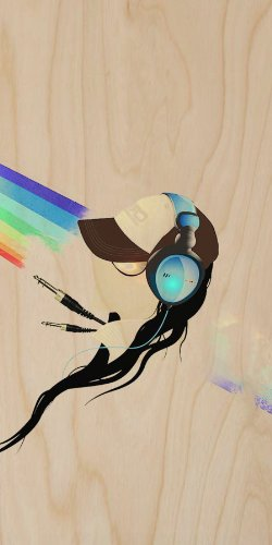 Dj Girl In Hat & Headphones W/ Rainbow Background - Plywood Wood Print Poster Wall Art front-1015338