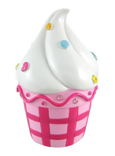Hot Pink / White Glitter Sprinkles Cupcake Piggy Bank front-988056