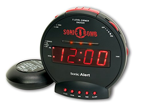 Sonic Bomb 1126-SA-SBB500SS Alarm Clock Turbo Charged Loud Built-in Alert Lights Adjustable Volume