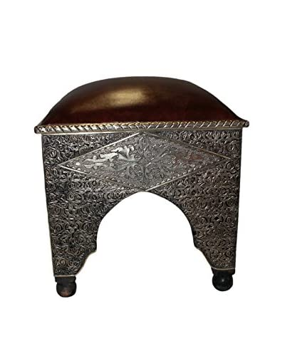 Badia Design Metal & Faux Leather Ottoman, Brown/Silver