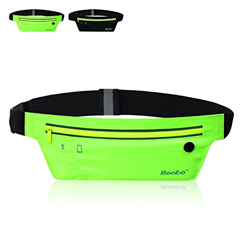 Becko Lightweight & Durable Waterproof Bag / Running Belts / Runners Belt / Race Belt - Fitness Workout Belt for Both Men and Women - Fit for iPhone, HTC, Samsung, Motorola, BlackBerry and Most Smartphones - Waist Pack Belt / Runners Belt Waist Pouch / Sport Running Waist Bag / Runner's Waist Pack Protects items during Workouts, Cycling, Hiking, Walking, Running, Sports, Leisure and All Outdoor Activities (ultra-thin / Green)