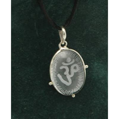 Etched Crystal Oval Om Pendant