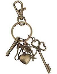 Imported Antique Bronze Lobster Swivel Clasps Clips Heart Keys Charm Keyring