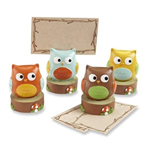 Kate Aspen Set of 4 Assorted Place Card/Photo Holder, Whooo's the Cutest Baby Owl