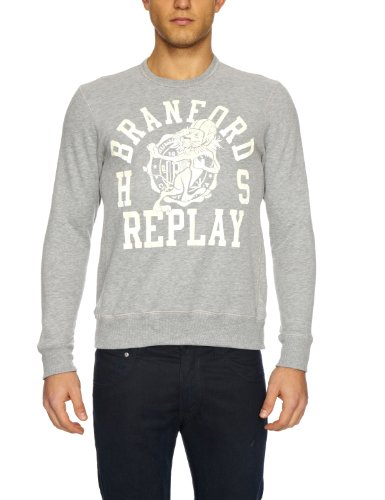 Replay M3052 Men's Sweatshirt Light Grey Melange Small