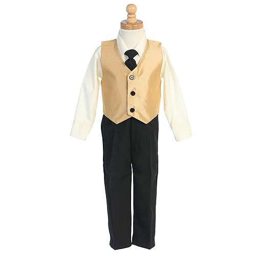 Little Boys Gold Vest Special Occasion Holiday 3pc Suit Set 6M-7
