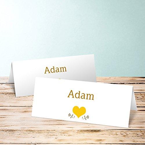tischkarten hochzeit bestellen torte 80 karten horizontale klappkarte 100x38 gelb. Black Bedroom Furniture Sets. Home Design Ideas