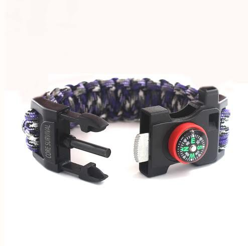 Core Survival Paracord Bracelet - Hiking Multi Tool, Emergency Whistle, Compass for Hiking, Camp Fire Starter (Purple Camo, 9