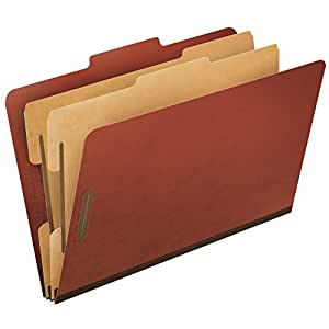 Pendaflex Top-Tab Pressboard Classification Folders, 2/5 Cut, Legal Size, Brick Red, 10 per Box (2257R)