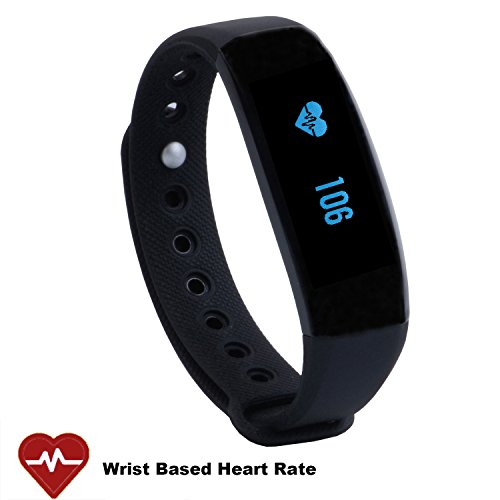 CUBOT Wireless Activity Wristband, Heart Fitness Tracker with a Heart Rate Monitor, Pedometer, Step Counter, Distance Counter, Sleep Monitor, Black (Black)