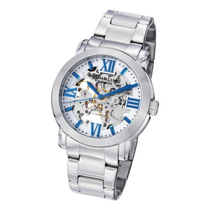 Stuhrling Original Men'S Consul Automatic Stainless Steel Bracelet Watch Blue
