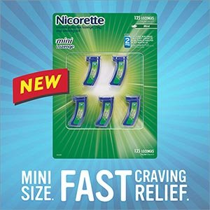 Nicorette Mini Lozenges 2 mg - 5 Vials, 27 Lozenges Each - 135 Mint Flavored Lozenges