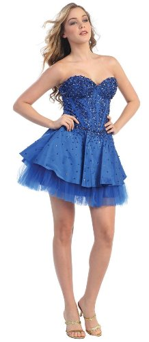 Strapless Fancy Cocktail Party Junior Prom Dress #578 (6, Royal Blue)