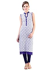 Libas Women's Cotton Printed Straight Sleeveless Kurta