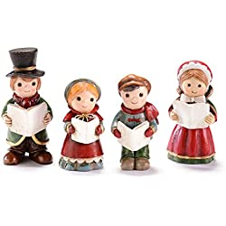 Christmas Figurine Set for Mini Fairy Garden - 4 Pc Carolers Figures