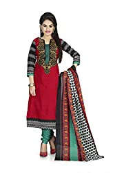 Vaamsi Women's Faux Cotton Salwar Suit Dress Material (Deep1035_Red_Free Size)