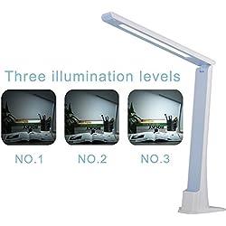 Ryham Dimmerabile Eye Care di lettura a LED Desk Lamp controllo sensibile al tocco di ricarica USB 5W ABS materiale separabile piedistallo della luce di notte con 3 livelli di luminosità Dormitorio camera Blu