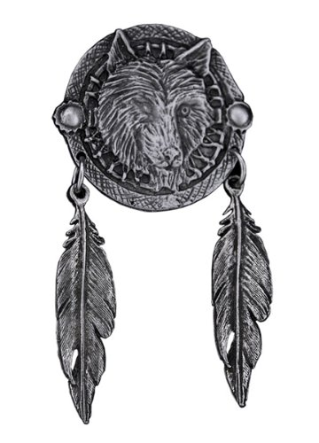 Wolf Dream Catcher Feathers Biker Jacket Pin