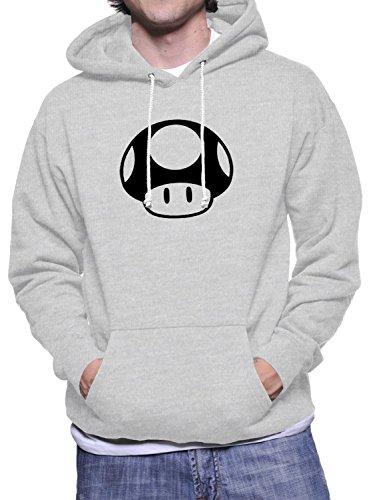 Hoodie da uomo con Toad logo di super mario con illustrazioni a stampa. X-Large, Grigio