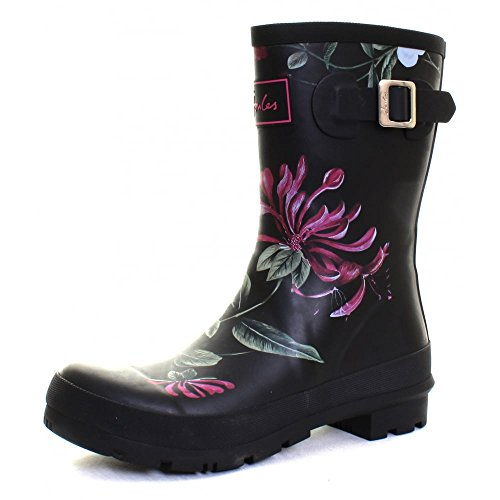 Joules-Molly-Printed-Welly-Black-Hedgerow-Womens-Rain-Boots-Size-8M
