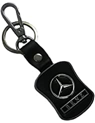 Techpro Premium Quality Leatherite Black Keychain With Mercedes-Benz Design