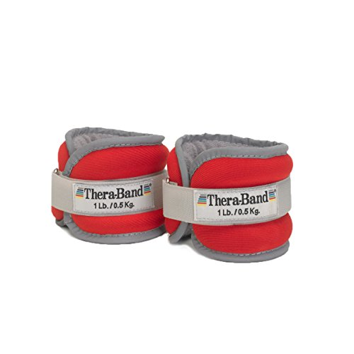 TheraBand Comfort Fit Ankle & Wrist Cuff Wrap Walking Weights Set, Adjustable Wrist Weights and Ankle Weights for Home Workout, Red, 1 Pound Each, Set of 2 (Ankle Weights 1 Lb compare prices)