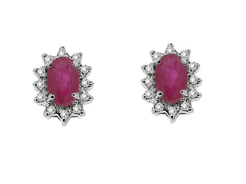 Diamond with Ruby Earrings in 9ct White Gold