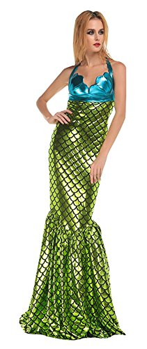 Dreamall Women's Halloween Halter Backless Fairy Tale Mermaid Dress