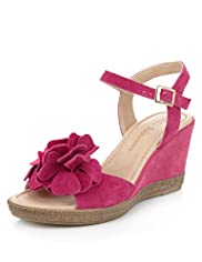 Suede Floral Corsage Wedge Sandals
