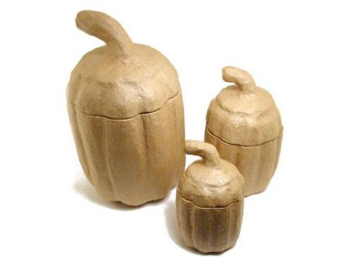 Paper Mache Tall Extra Large Pumpkin Box Set Of 3 By Craft Pedlars