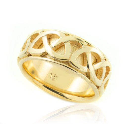 Solid 18K Yellow Gold Infinity Knot Band Celtic Wedding Band