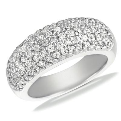 1.50 ct TW Round Cut Diamond Wedding Band In Pave Setting in 18 kt White Gold