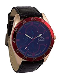 Addic EWWE Dark Blue Dial With Red Tachymeter And Black Leather Straps Watch For Men (24)