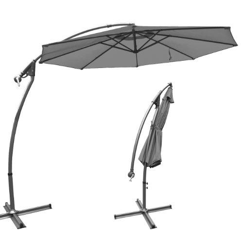 3m banana parasol cantilever patio umbrella garden outdoor sunshade hanging market dark grey. Black Bedroom Furniture Sets. Home Design Ideas