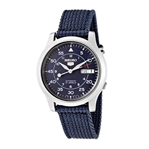 Seiko Men's SNK807K2 Automatic Blue Dial Blue Cloth Weave Strap Watch