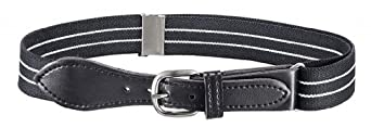 Albert's Kids Elastic Stretch Belt with Leather Closure - Black & White Striped