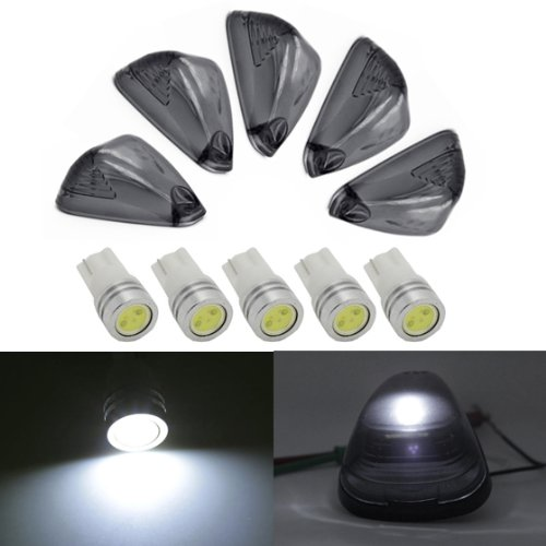 Partsam 5Pc Smoke Clearance Light Cab Marker Cover Lens +White 168 High Power Led Bulb For Ford F-250 F-350 F-450 F-550 Super Duty