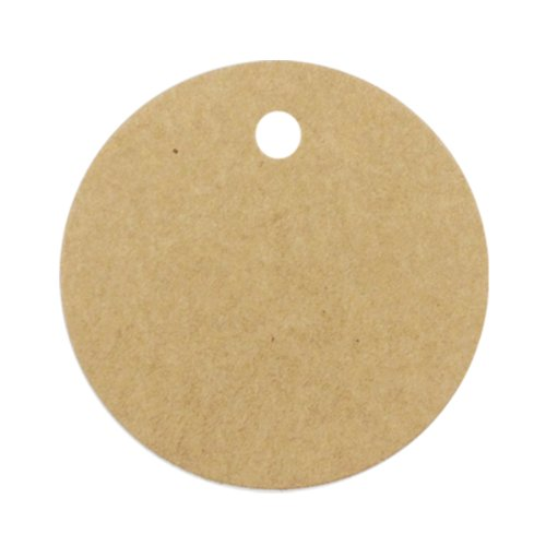 Wrapables 50 Gift Tags/Kraft Hang Tags with Free Cut Strings for Gifts, Crafts & Price Tags - Circle
