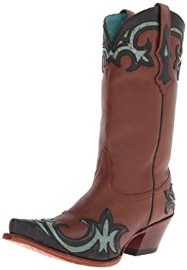 Tony Lama Women's 100% Vaquero Inlay Cowgirl Boot Snip Toe Saddle Brn US